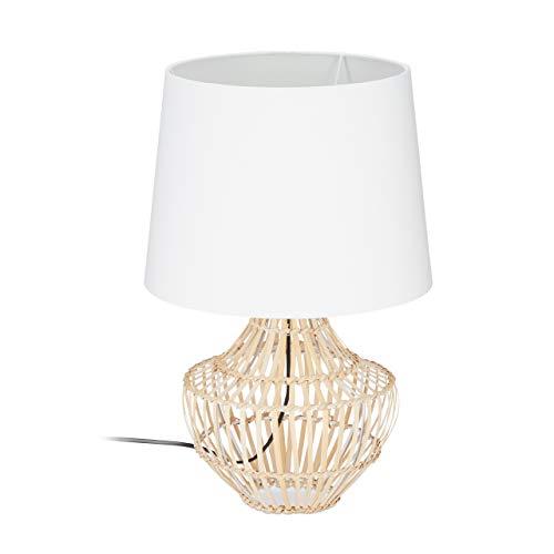 Relaxdays, weiß/natur Tischlampe Bambus, runder Lampenschirm, Holzfuß, E27, modern, Nachttischlampe, H x D: 50 x 30 cm