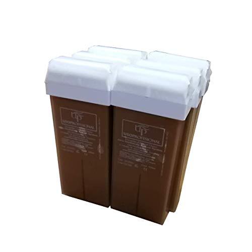 Cris nails - 6 cartuchos roll-ons de cera depilatoria tibia UsoProfesional de 100ml/ud color chocolate para depilación con bandas depilatorias