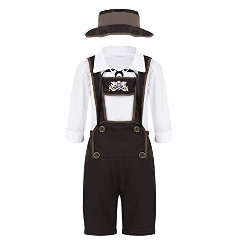 dPois Jungen Kostüm Trachten Kinderkostüm Outfit Trachtenhemd + Lederhose + Hut Kostüm Set für Oktoberfest Halloween Weihnachten Cosplay Party White&Brown 122-128/7-8Jahre