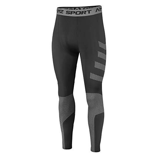 AMZSPORT Leggings da Compressione per Uomo Pantaloni Sportivi Asciutti e Freddi Collant per Allenamento Fitness, Nero L