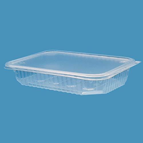 (Confezione da 100) 500 ml PP Contenitori per insalate grandi Fast Food da asporto Scatola monouso Coperchi in plastica visp Conservazione (100, 500 ml)