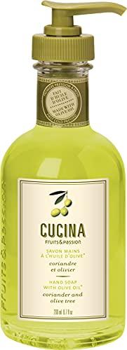 Fruits & Passion [Cucina] - Coriander & Olive Hand Soap Liquid Hand Soap, Vegan Natural Hydrating Hand Wash in Glass Hand Soap Dispenser (6.76 fl oz)