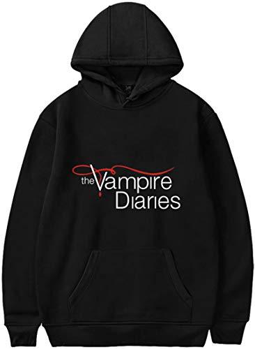 EMLAI Mujer Sudaderas con Capucha The Vampire Diaries Manga Larga Ropa de Calle Informal Otoño e Invierno (M, Anegro)