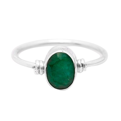 Koral Jewelry Created Emerald Ring 925 Sterling Silver Vintage Tribal Gypsy Boho Look US Size 5 6 7 8 9 (9)