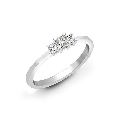 Jewelco London Mujer Sólido 18ct Oro Blanco 4 Engaste Corte Princesa Alta Si 25pts Diamante Anillo Pedida Trilogía