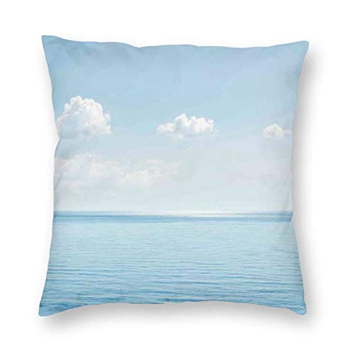 Decorative Cushion Covers with Aquatic Seascape with Sky Landscape In Tropical Lands Relaxation Spot In The Coast,for Sofa Office Decor Cotton and Linen Cushion Covers 20*20Inch