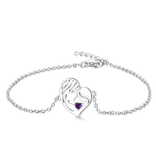 YL Mutter und Tochter Armband 925 Sterling Silber Schnitt Februar Geburtsstein Amethyst Herz Armband für Mama Damen