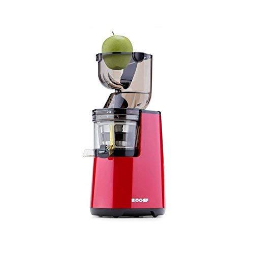 BioChef Atlas Whole Slow Juicer - Extractor de zumo, rotación lenta con apertura ancha y motor de 250 W y 40 r/min en color rojo