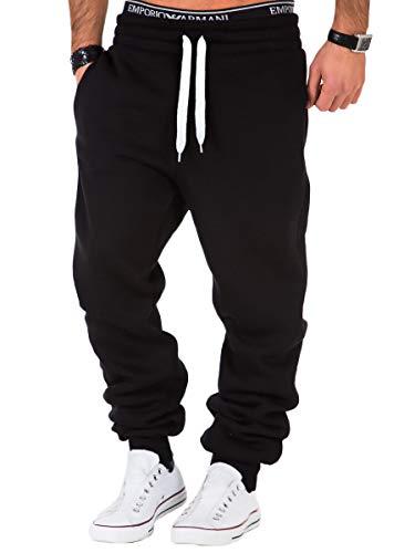 REPUBLIX Herren Sporthose Jogger Jogginghose Sweatpants Trainingshose R0704 Schwarz/Weiß L