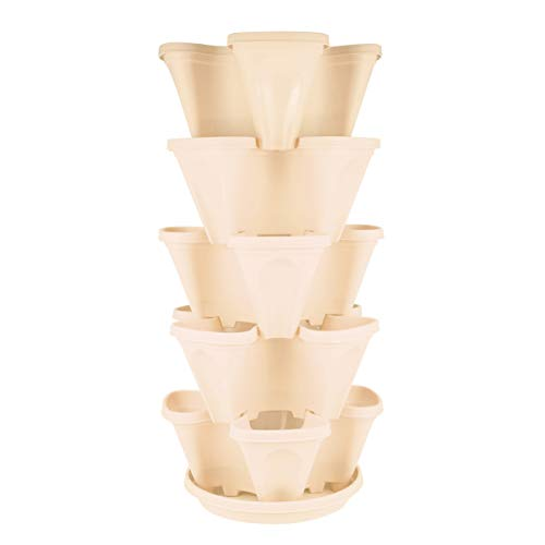 Hemoton - Vaso impilabile per piante a 5 livelli, con vassoio verticale, per la coltivazione delle fragole, erba, fiori, verdure, piante