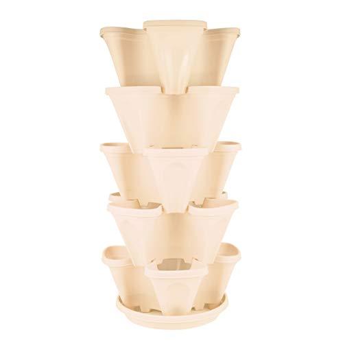 Hemoton - Jardinera vertical apilable con 5 estantes para fresas, con bandeja, ollas de jardinería vertical, para cultivar fresas, hierbas, flores, verduras, color: beige