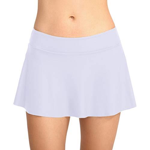 Allence Damen Badebekleidung Badeanzug Rock gebaut in Bikini Bottom Baderock Schwimmrock Bikini mit Hotpants