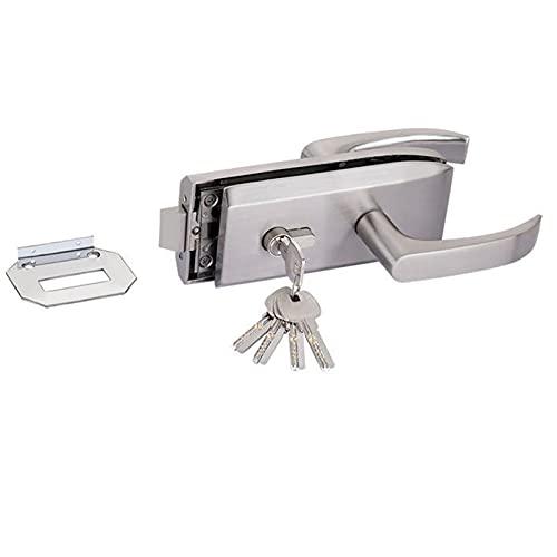 Cilindro cerradura Puerta de entrada 10-12 mm Cerraduras de puertas de vidrio W Tecla y puerta corredera Cerradura de puerta de vidrio sin marco de aluminio, cerradura de puerta de alta separación