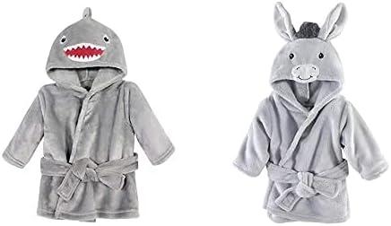 Hudson Baby Boy Plush Animal Face Bathrobe 2-Pack, Shark Donkey
