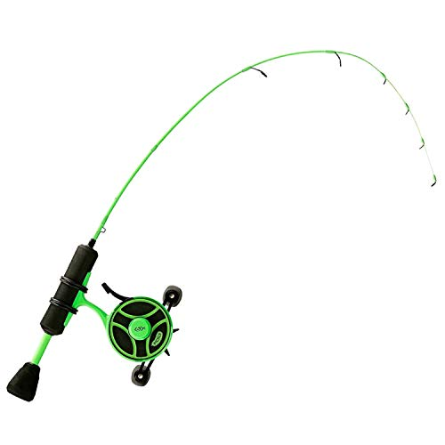 "13 Fishing Radioactive Pickle Ice Combo 27"" L - FF Ghost w/New Line Window + Tickle Stick (Reel Seat) - Left Hand"