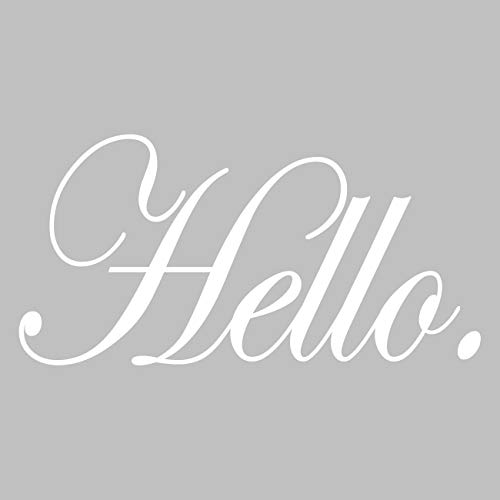 VWAQ Hello Front Door Decal Welcoming Home Decor Vinyl Sticker Lettering (White)