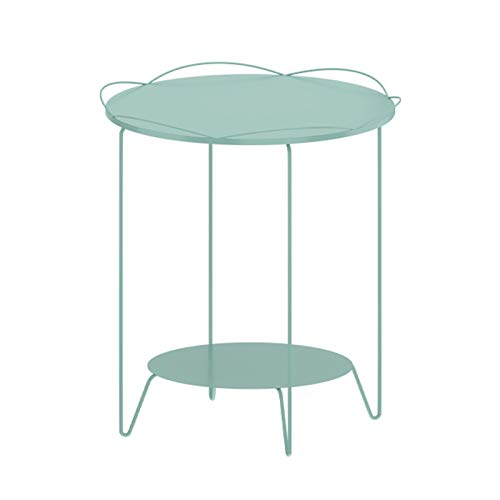 Bedside Tables Small Round Coffee Table Metal Double Layers Multifunction Home Storage Rack Simple Sofa Side Display Shelf Creative Furniture Decor, 46X55CM(Color:green)