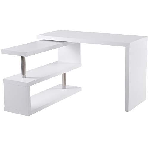 HOMCOM Computertisch Eckschreibtisch Winkelschreibtisch Schreibtisch Bürotisch PC Tisch Weiß Holzoptik