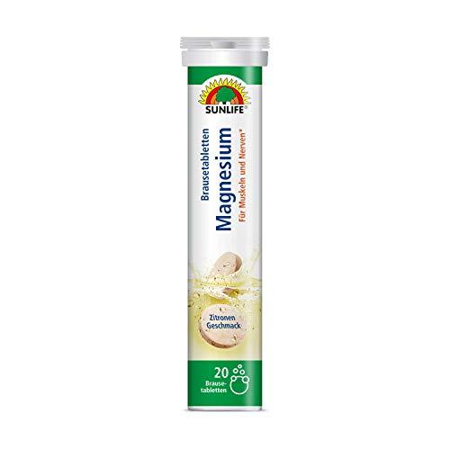 SUNLIFE Magnesium Brausetabletten hochdosiert: Für Muskeln und Nerven, Zitronengeschmack, 20 Tabletten - 6er Pack