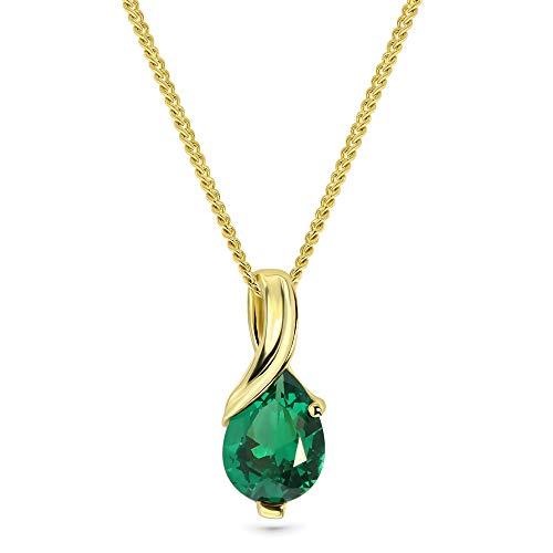 Miore Collana Donna con Catena, Smeraldo Oro Giallo 9 Kt / 375 Catenina Cm 45
