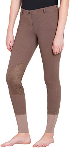 TuffRider Women Starter Lowrise Pull On Breeches Women's UltraGripp Knee Patch Horse Riding Pants Ladies Equestrian Rider Tights,Lava Brown,32