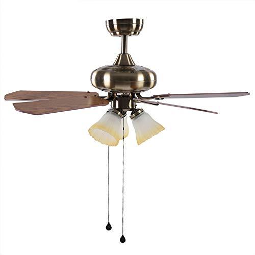 Greensen - Lámpara de ventilador de techo de 42 pulgadas, ventilador de techo con 3 niveles de velocidad con luz, ventilador de techo reversible de 5 hojas para salón de dormitorio