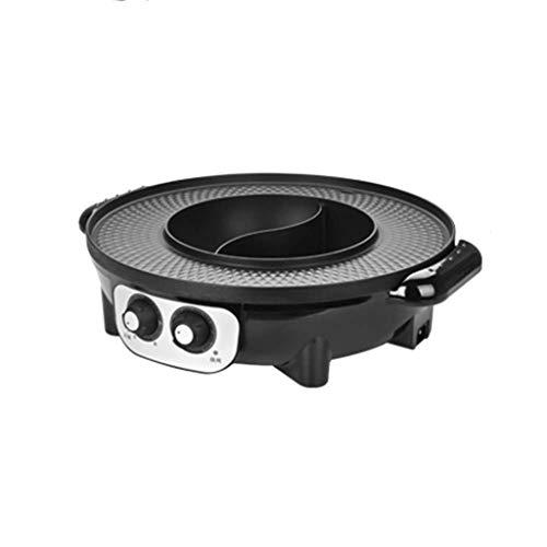 WSJTT Grand multi cuiseur | Poêle à frire électrique avec couvercle en verre, Multifonction deux-en-un Barbecue sans fumée électrique Barbecue antiadh