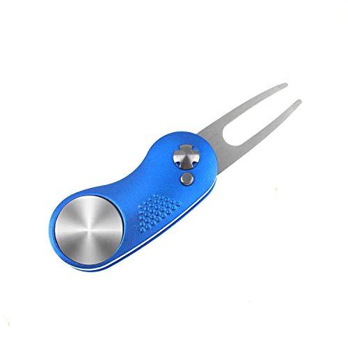 Crestgolf Golf Divot Tool con Botón Emergente y Marcador de Bola Magnética Pitch Mark Mini Herramienta Portátil y Plegable Ligera (blue3)