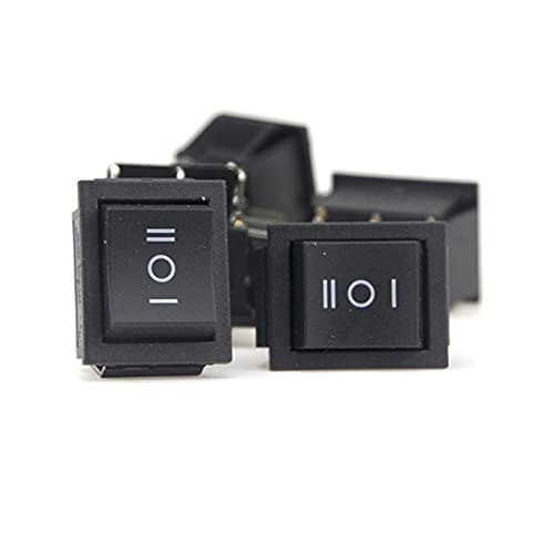 DONGMAISM Interruptor basculante KCD2 Black Tres Position Toggle Micro Interruptores 16 / 250VAC 20A / 125VAC (ON/Off/ON/ON) Smart Rocker Switch