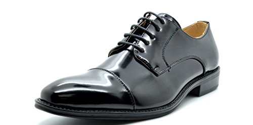 Bruno Marc London-05 Men's Classic Modern Oxfords Round-Toe Wingtip Comfort Lace Buckle Casual Dress Shoes, 5-BLACK, 13 D(M) US