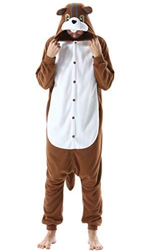 Pijama Animal Entero Unisex para Adultos con Capucha Cosplay Pyjamas Ropa de Dormir Kigurumi Traje de Disfraz para Festival de Carnaval Halloween Navidad Ardillas