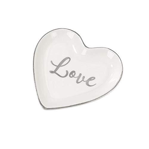 My Weddingshop Ring-Teller Love/Ring-Kissen Alternative/Herz-Teller Love aus Porzellan - Hochzeits-Deko/Zubehör Hochzeit/Liebe/Ehe-Ringe