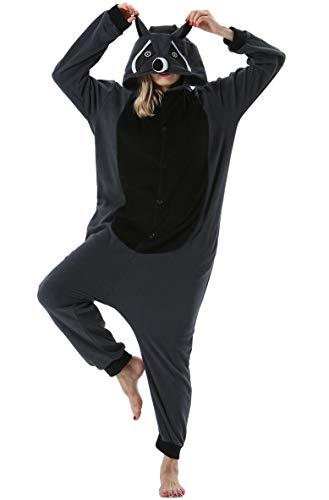 Mujer Hombre Pijama Animal Entero Unisex para Adultos con Capucha Cosplay Pyjamas Ropa de Dormir Traje de Disfraz para Festival de Carnaval Halloween Navidad Gris Mapache para Altura 148-187cm