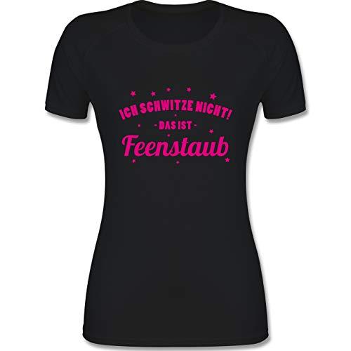 Shirtracer Fitness & Workout - Ich schwitze Nicht! Das ist Feenstaub - M - Schwarz - Funktionsshirt Damen - F355 - atmungsaktives Funktionsshirt für Damen
