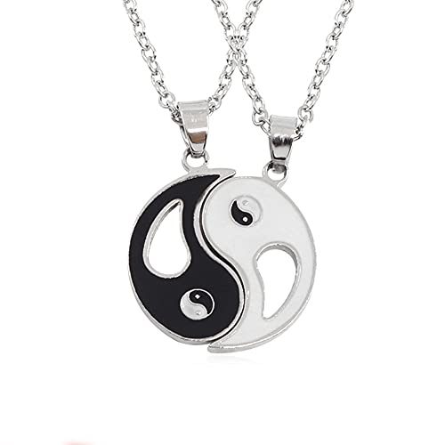 2pcs Matching Yin Yang Necklaces for Couples Stainless Steel Pendant Puzzle Necklace Christmas Birthday Gifts for Boyfriend Girlfriend