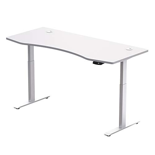 Hi5 Schreibtisch Höhenverstellbar Elektrisch Mit Memory Funktion Ergonomischer Stehtisch Mit Teleskop Tischgestell 180 x 80 cm Oder 150 x 78 cm (Weiß-Weiß 180x80 cm)