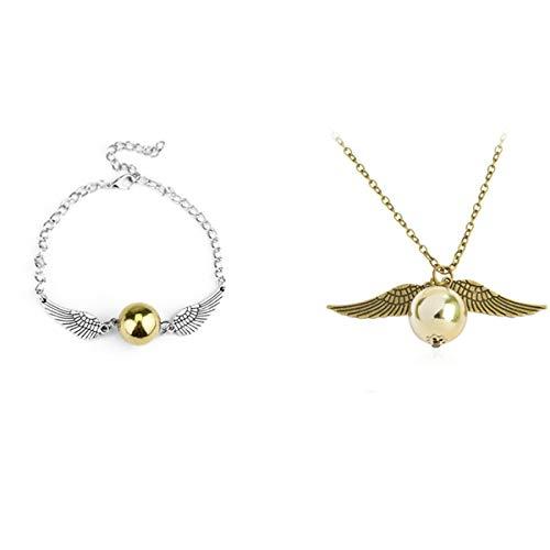 Ailyoo - Collar de oro con perla, collar y pulsera, diseño de Harry Potter