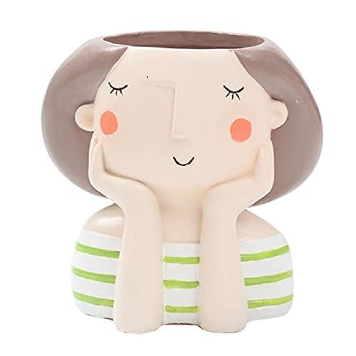 Creativa linda chica en forma de resina suculenta maceta multicolor de dibujos animados Mini maceta de cactus con orificio de drenaje interior Bonsai maceta decoración de escritorio planta de resina