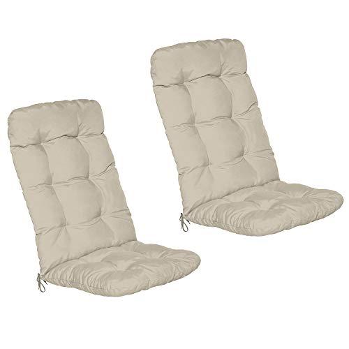 Beautissu Set de 2 Cojines sillas Jardin Flair HL - Cojín para sillas de terraza o Cojines Exterior con Respaldo Alto - 120x50x8 cm - Relleno de Copos de gomaespuma - Natural