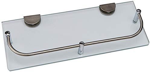 Noveltia HB-5697 – Repisa de cristal con baranda de acero inoxidable, ideal para baño