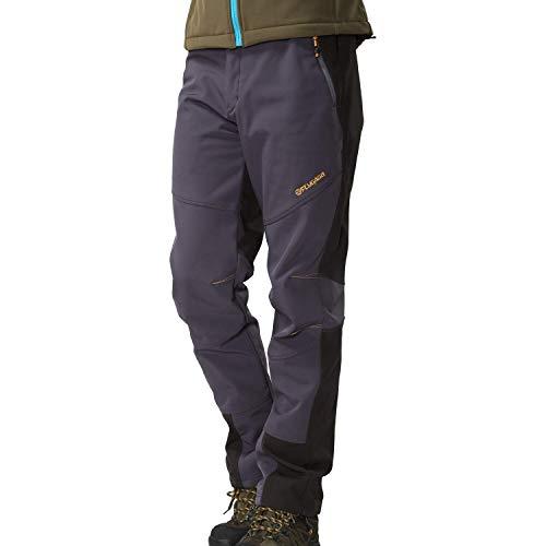 FLYGAGA Pantalon extérieur pour Homme Ski Coque Souple randonnée Doublé Polaire Chaud avec Ceinture Imperméable Coupe-Vent Softshell Séchage Rapide Automne Hiver Plus Trekking épaississant en Velours