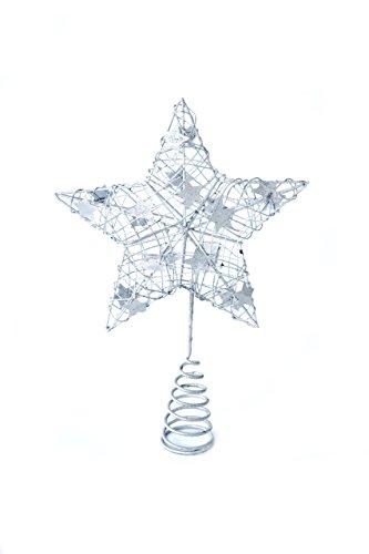 Heitmann Deco Weihnachtsbaum-Spitze - Metall-Baumspitze Stern in silber - glitzernder Blickfang für den Christbaum