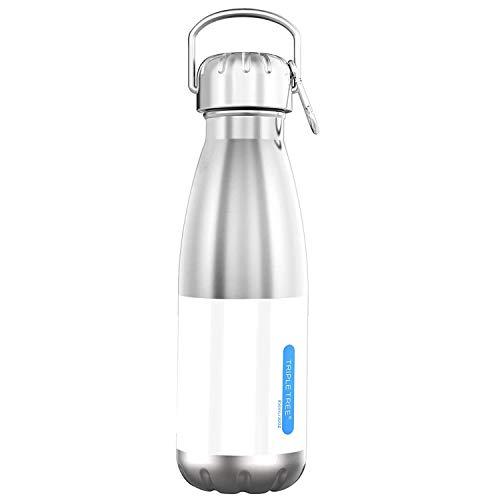 TRIPLE TREE Edelstahl Trinkflasche 500ml / 700ml / 1L BPA Freie, Auslaufsicher Metall Wasserflasche für Outdoor, Büro, Camping, Fahrrad (850ml-Doppelwandig)