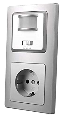 DELPHI Bewegungsmelder & Steckdose Silber Grau UP 230V~ Unterputz 160° Wandsensor mit Schutzkontaktsteckdose im Doppelrahmen