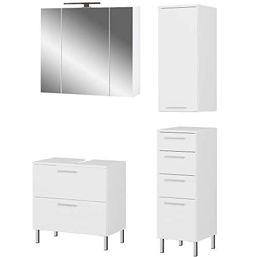 Germania 4-tlg. Badezimmer-Set 8270-84 GW-Arvada, bestehend aus Waschbeckenunterschrank, Spiegelschrank, Unterschrank und Hängeschrank, in der Farbe Weiß