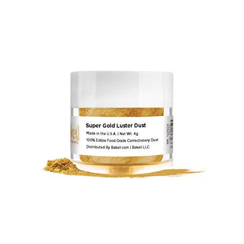 BAKELL Super Intense Gold Edible Luster Dust & Paint, 4 Gram | LUSTER DUST Edible Powder | KOSHER Certified Paint, Powder & Dust | 100% Edible & Food Grade| Cakes, Cupcakes, Drinks Vegan Paint & Dust