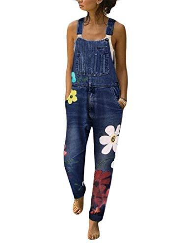 H&E Damen Jeans Straps-Print Lose Denim Straps-Overall Gr. M, blau