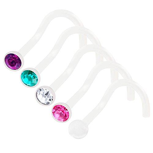 bodyjewellery 5Pcs 20g 0.8mm Nose Screw Rings Bioflex Flexible Corkscrew Nostril Piercing Jewelry 2.5mm Crystal - CL RO BZ AM
