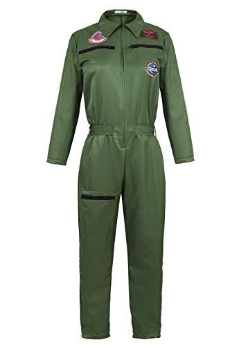 Grebrafan Herren Air Force Flight Suit Pilotenkostüm Overall Cosplay Jumpsuit - - XX-Large
