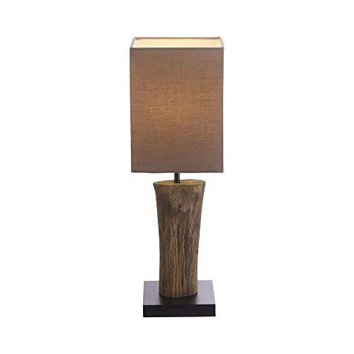 Paul Neuhaus, Tischleuchte inkl. Schnurschalter, Baumwollschirm, Tischlampe, exkl. Leuchtmittel, E14-Fassung, Holz-Optik, braun